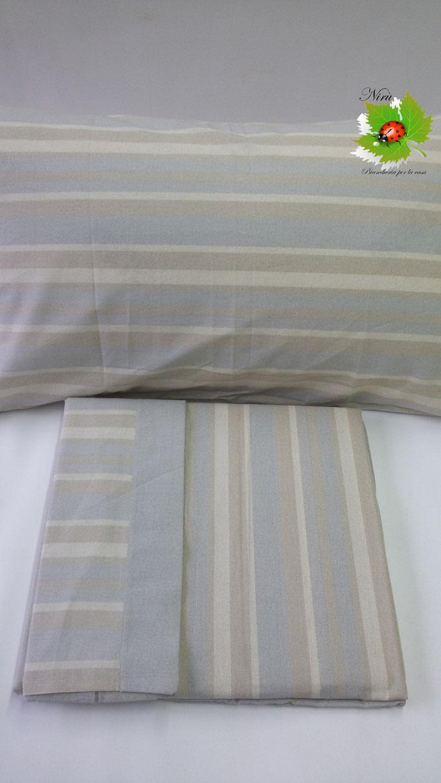 Completo lenzuola con fascia di Regina Schrecker per letto matrimoniale due piazze. Col.Tortora.B202