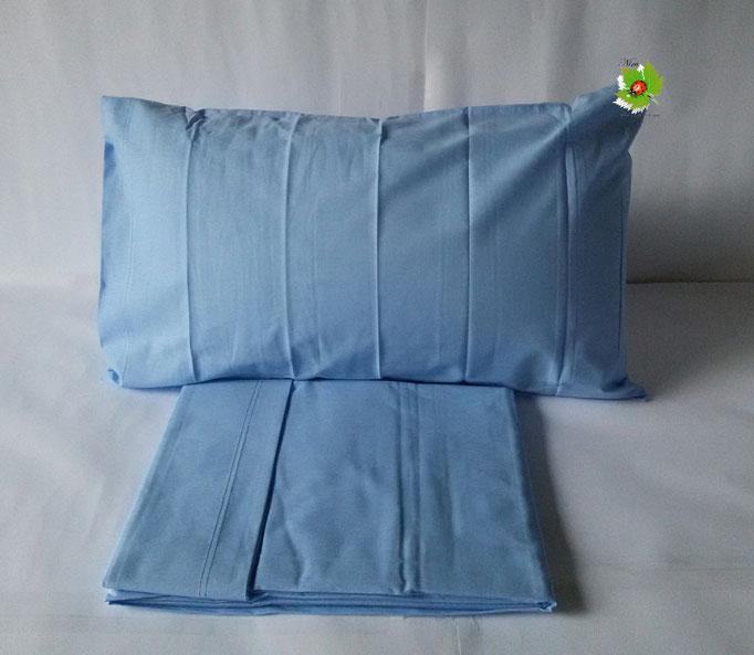 Completo lenzuola letto singolo a tinta unita Kiro Oro.Col.Celeste ART.A055