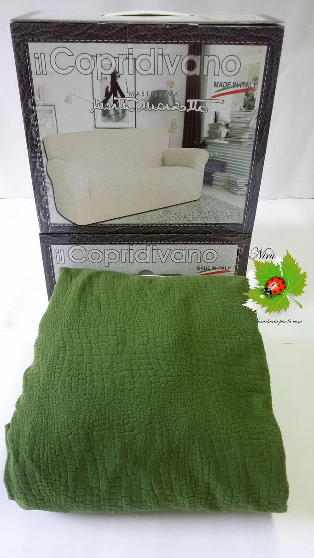 Copridivano elasticizzato Marta Mazzotto Pitonato 3 posti maxi fino 220 cmin tinta unita. Col.Verde.A759