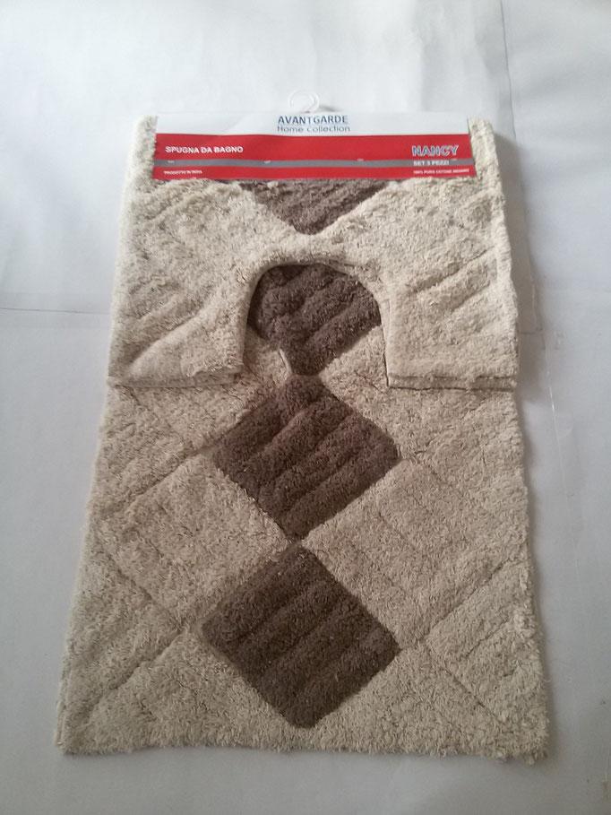 Parure tappeto bagno 3 pezzi in spugna di cotone Panna/MarroneArt.A260