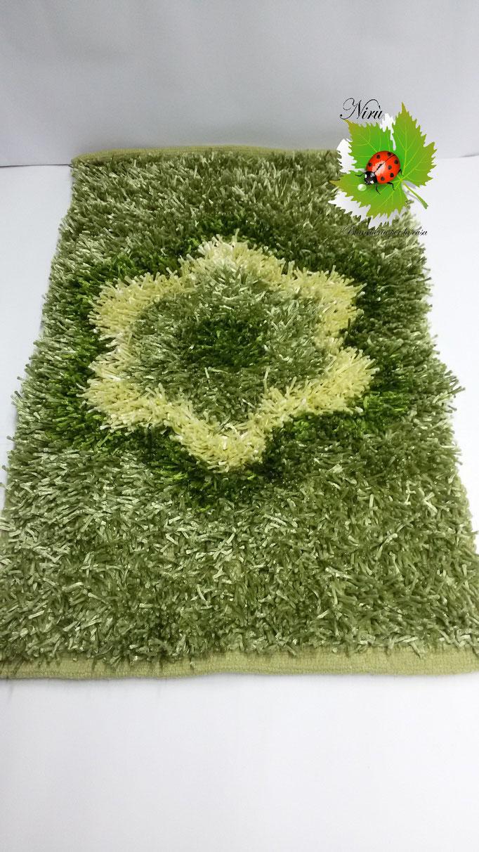 Tappeto Shaggy rettangolare con Fiore centrale 100x150cm. Col.Verde. Art.A721