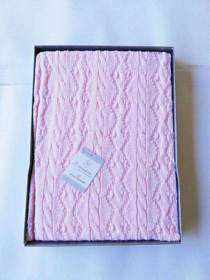 Scialle/copertina culla carrozzina in lana doppia treccia Nazareno Gabrielli. Col.Rosa. C083