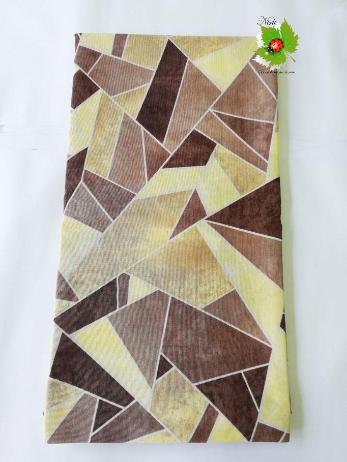 Scampolo tessuto di cotone in loneta a fantasia multicolor 280x280 cm. Col.Beige.B233