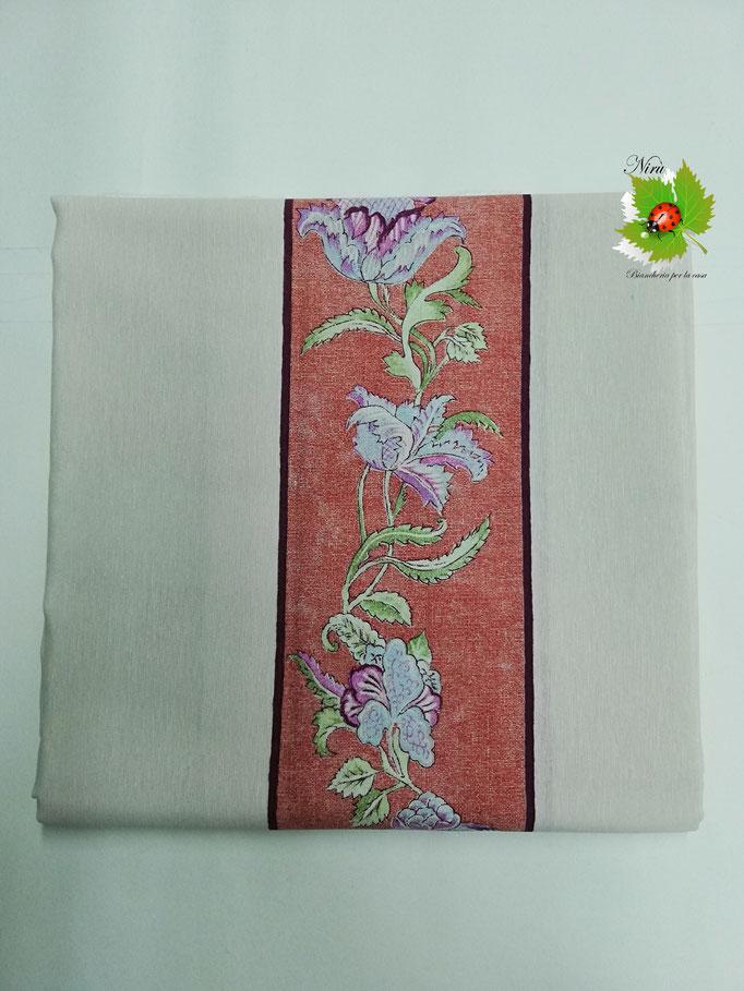 Scampolo tessuto di cotone Loneta a fantasia a fiore 280x280 cm. Col.Tinta unita con fascia a fiore.B274