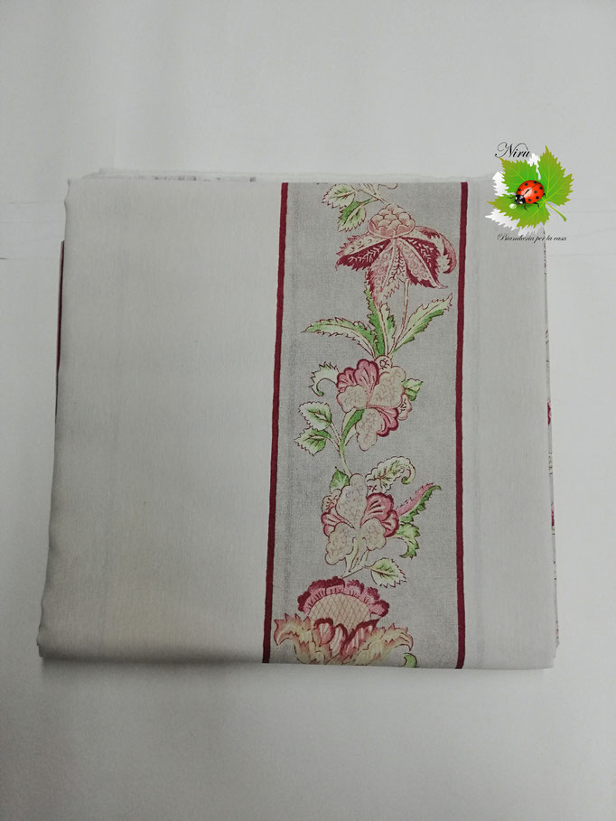 Scampolo tessuto di cotone Loneta a fantasia a fiore 280x280 cm. Col.Tinta unita con fascia a fiore.B282