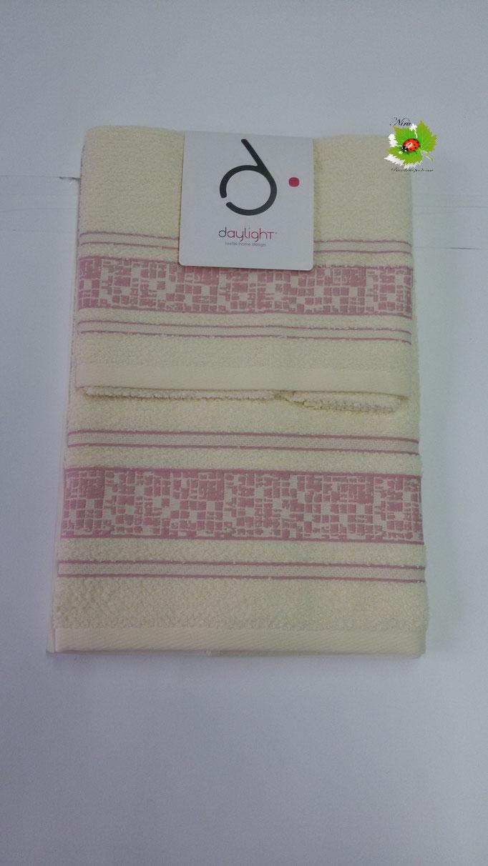 Set asciugamano 1+1 Day light/Dea Battaglia. Col. Panna.Art.A581