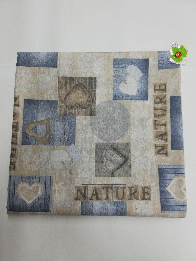 Scampolo tessuto di cotone Loneta a fantasia con cuori 280x280 cm. Col.Beige. B271