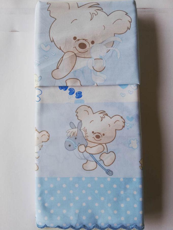 Completo lenzuola lettino (culla) con doghe con smerlatura con stampa orsetti in flanella di cotone. C062