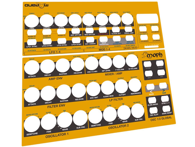 Xmoph BCR - Behringer BCR2000 Controller Overlay + MIDI template, mxpand - for DSI Mopho (Dave Smith Instruments, Sequential Circuits), analog desktop-synthesizer, high-quality operation template/front foil/skin, intuitive hardware editor