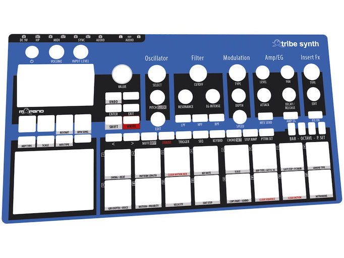 Xtribe Blue, Instrument Overlay by mxpand - for Korg Electribe 2 (E2), synthesizer, groovebox, sequencer, high-quality operation template/front foil/skin/film, EMX-1