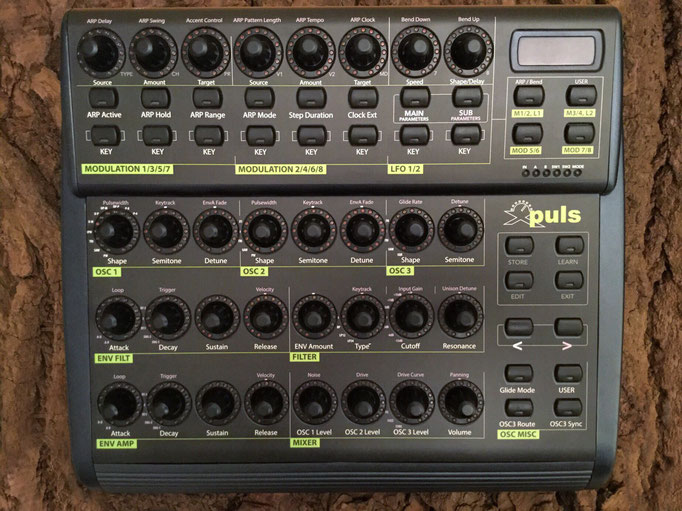 Xpuls BCR - Behringer BCR2000 Controller Overlay + MIDI template, mxpand - for Waldorf Pulse 2, analog synthesizer, high-quality operation template/front foil/skin, intuitive hardware editor