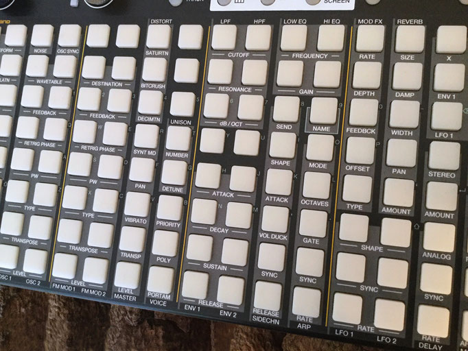 Xluge Pads, Instrument Overlay by mxpand - for Synthstrom Audible Deluge, synthesizer, sampler, sequencer, groovebox, high-quality operation template/front foil/skin/film