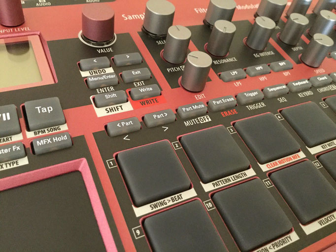 Xtribe Red, Instrument Overlay by mxpand - for Korg Electribe 2 Sampler (E2S), synthesizer, groovebox, sequencer, high-quality operation template/front foil/skin/film, ESX-1