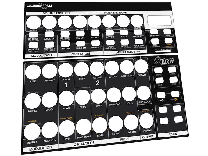 Xphatt BCR - Behringer BCR2000 Controller Overlay + MIDI template, mxpand - for Moog Little Phatty / Slim Phatty, analog synthesizer, high-quality operation template/front foil/skin, intuitive hardware editor