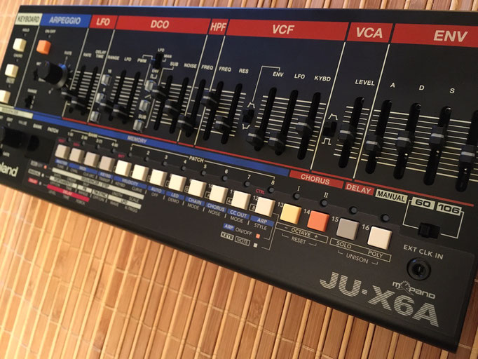 'Xtique JUX6A' Instrument Overlay by mxpand - for Roland Boutique JU-06A, synthesizer, vintage Juno 106 & 60, high-quality operation template/front foil/skin/film