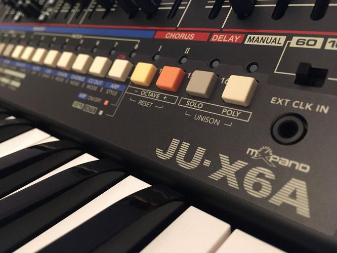 'Xtique JU-X6A' Instrument Overlay von mxpand - für Roland Boutique JU-06A, Synthesizer, Vintage Juno 106 & 60, hochwertige Bedien-Schablone/Skin/Folie