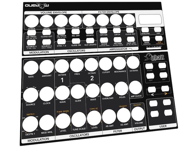 Xphatt BCR - Behringer BCR2000 Controller Overlay + MIDI Template, mxpand - für Moog Little Phatty / Slim Phatty, analog Synthesizer. Hochwertige Bedien-Schablone/Skin/Folie, intuitiver Hardware Editor