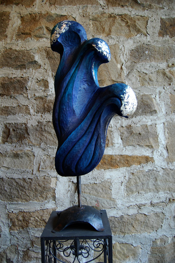 """Die Welle"" - 2014, 25x65 cm Linde, Acrylfarbe, Silber"