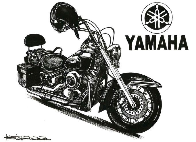 yamaha dragstarの墨絵イラスト