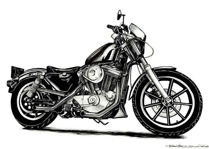 ハーレー白黒バイクイラスト