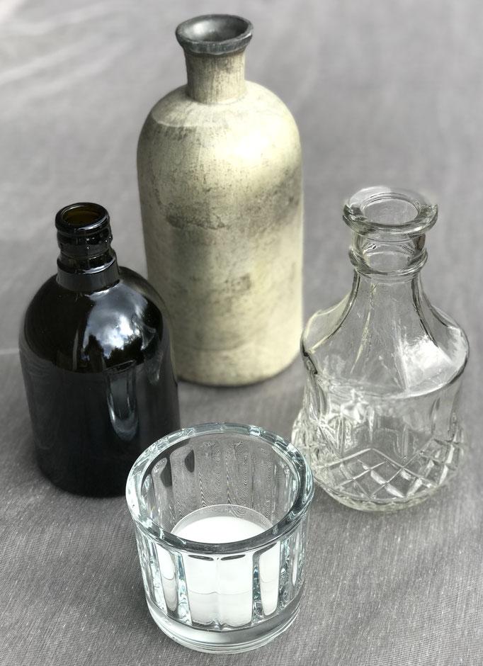 Glasflaschen Farbe und Transparent / Teelicht