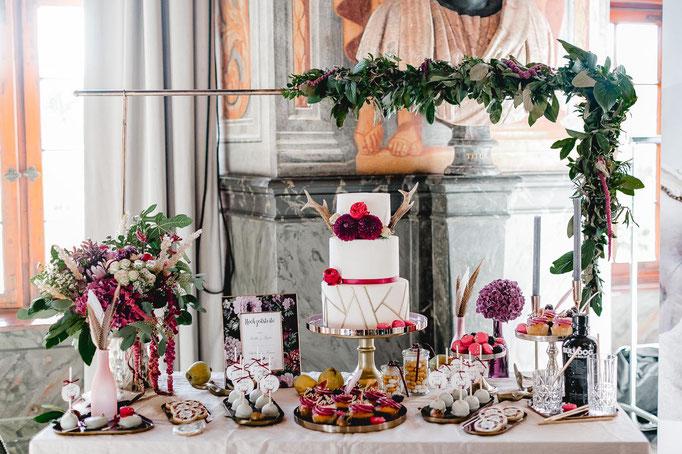 Image: www.dianafrohmueller.com / Torte und Sweettable: www.suesse-verzauberung.de