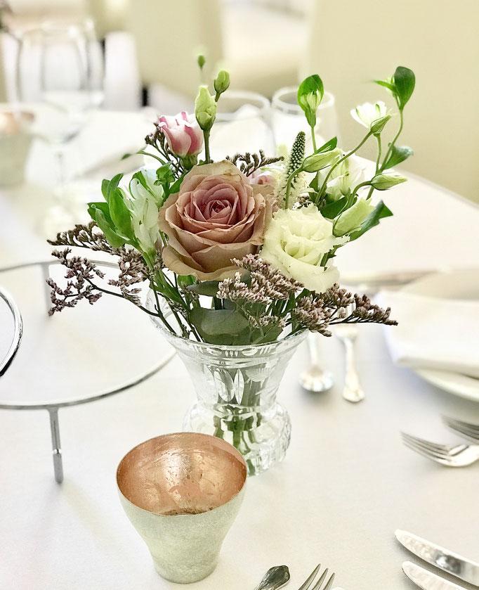 Glasvasen und Teelicht Metallic Rosé