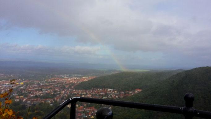 Blick auf Thale mit Regenbogen