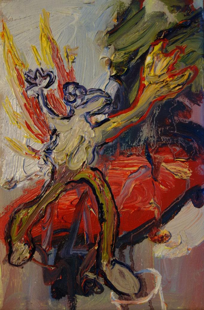 Burning Monkey  Öl auf Leinwand  30 x 20 cm