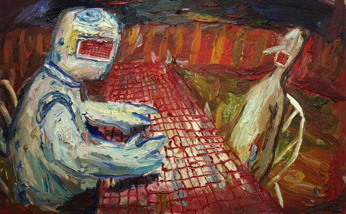 Rotkariert  Öl auf Leinwand  75 x 120 cm