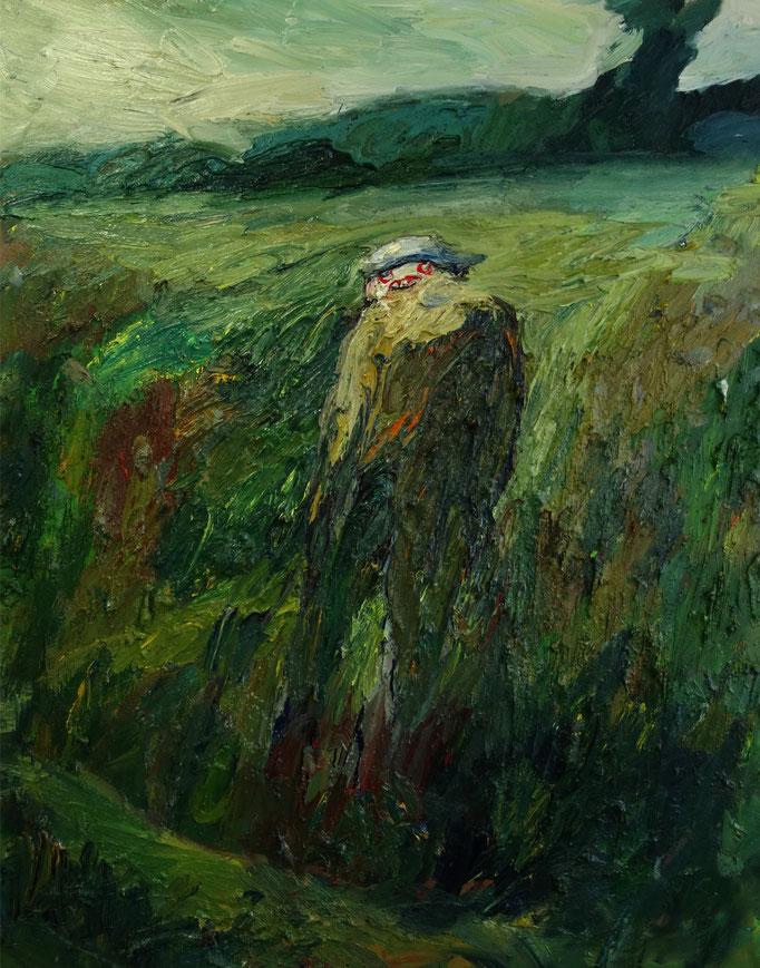 Im Gras  Öl auf Leinwand  140 x 110 cm