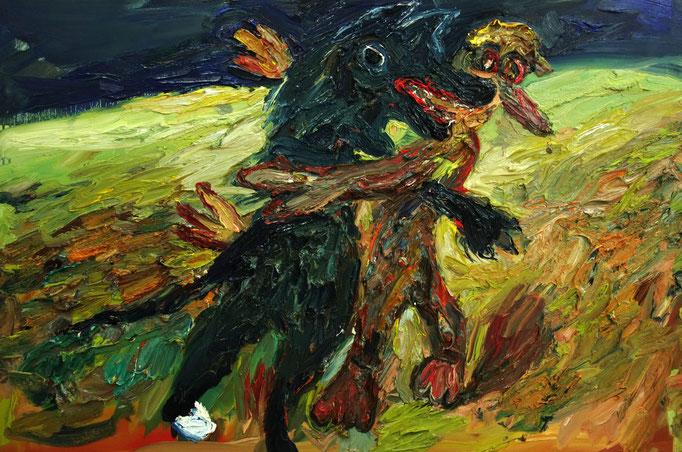 Die Begegnung  Öl auf Leinwand  90 x 130 cm