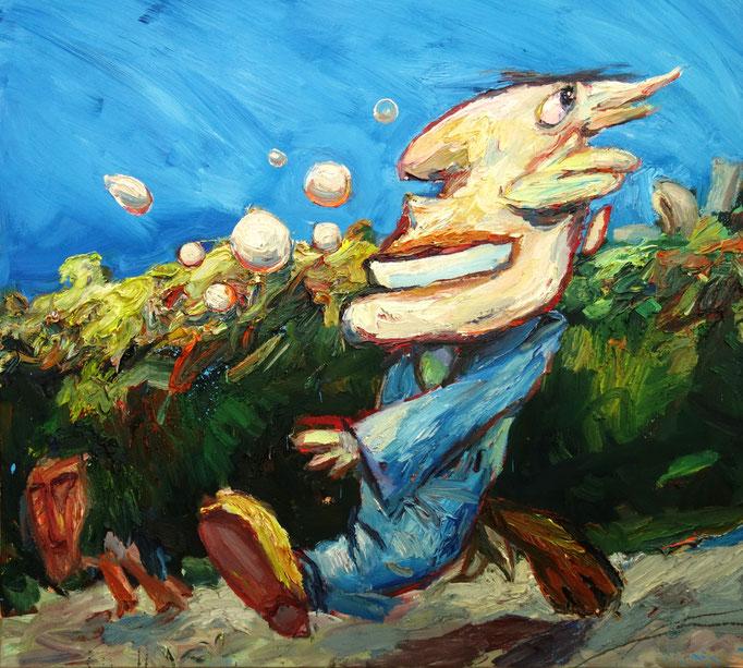 Der fröhliche Zeitgenosse  Öl auf Leinwand  120 x 130 cm