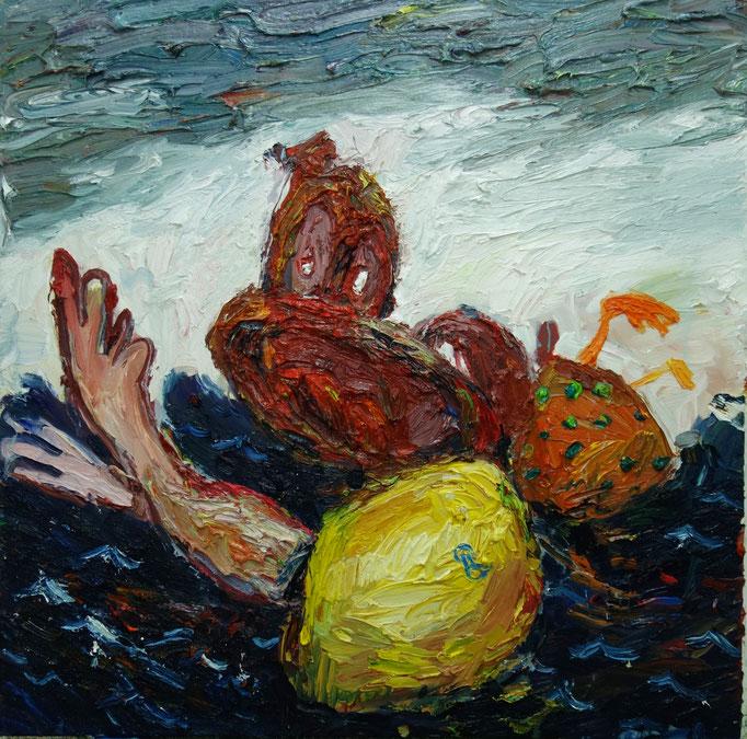 Schwimmstunde  Öl auf Leinwand  110 x 110 cm