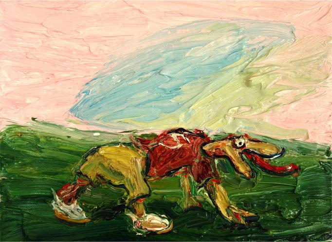 Frühsport 2 (Reptiloid)  Öl auf Leinwand  35 x 50 cm