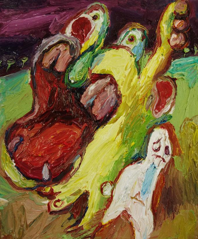 Die Beschwerden des gelben Nilpferdes  Öl auf Leinwand  60 x 50 cm