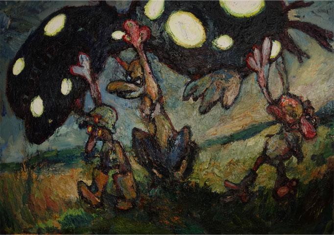 Rückkehr von der Jagd  Öl auf Leinwand  170 x 240 cm