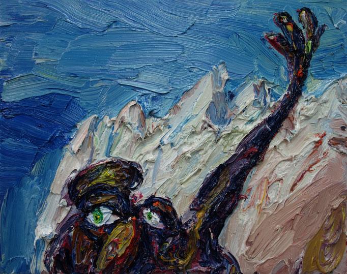 Gruß aus dem Gebirge  Öl auf Leinwand  45 x 50 cm