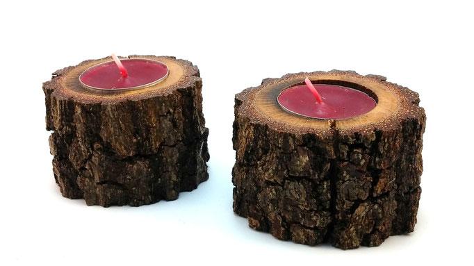 Candelabro rústico en roble para una vela