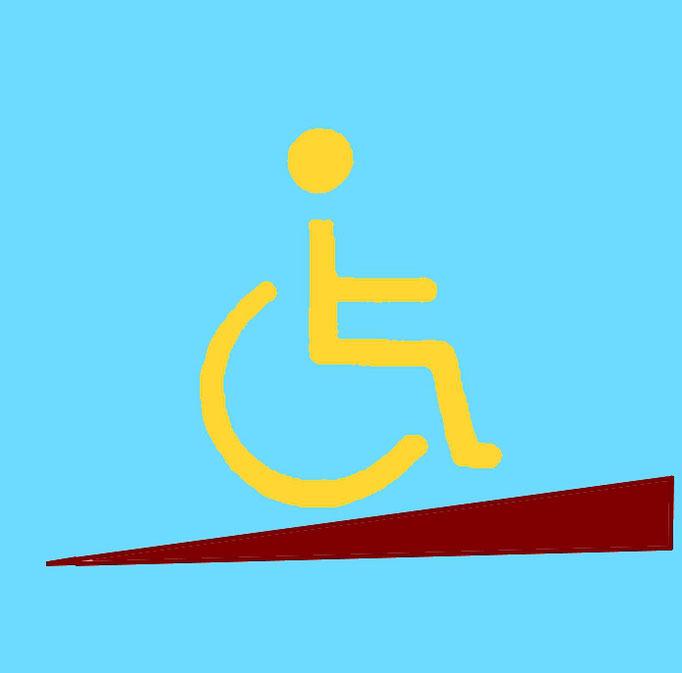 Bild8.1:Rollstuhlfahrer auf einer Rampe,Wir helfen barrierefrei , komfortabel und kostenoptimiert wohnen