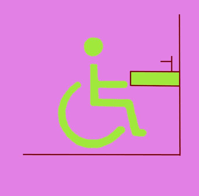 Bild8.3:Rollstuhlfahrer vor einem Waschbecken Wir helfen barrierefrei , komfortabel und kostenoptimiert wohnen