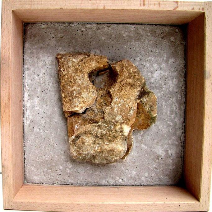 Concrete art Nr.12, versteinerter Kopf 2, 2011, 20x20cm