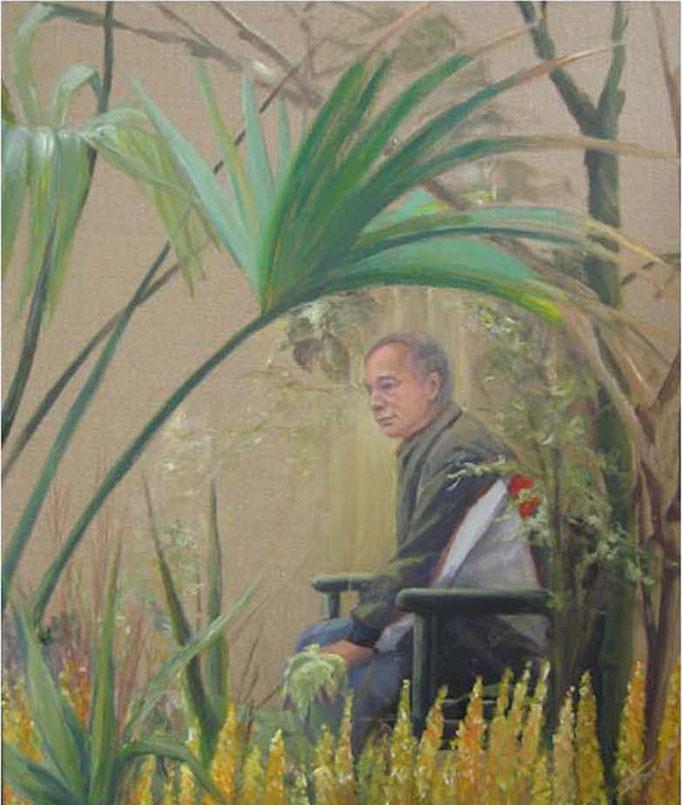 Man in vlindertuin,acryl op linnen 100 cm x 100m