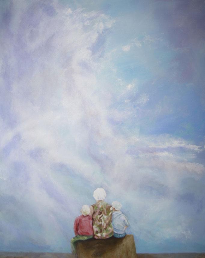 oma en kleinkinderen, acryl op linnen 80 cm x 100 cm VERKOCHT