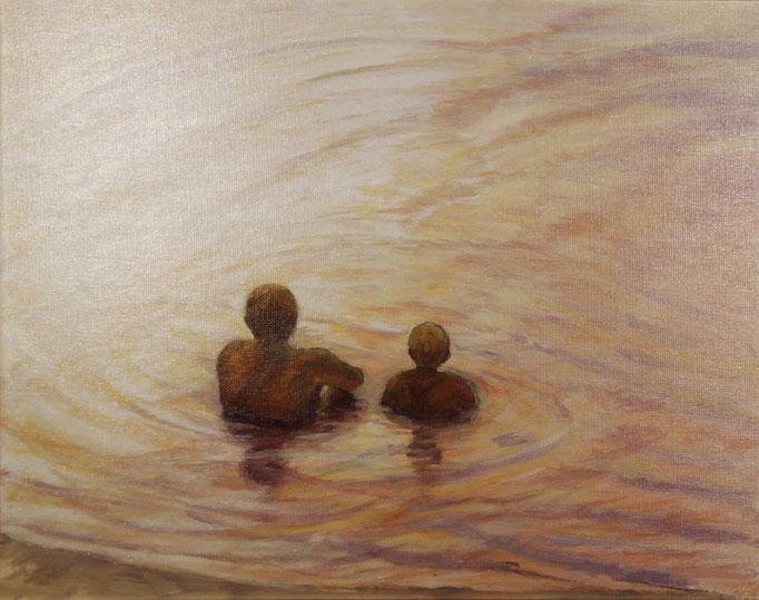 In het water, acrylverf op linnen  40 cm x 50 cm