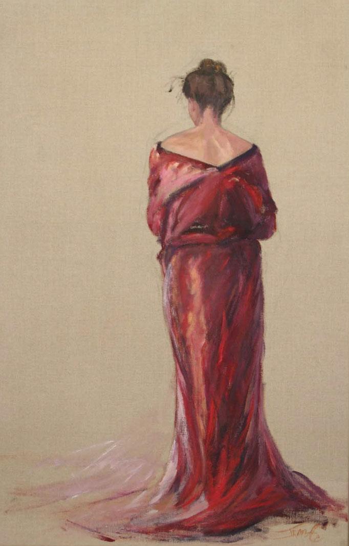 Verlegen vrouw, acryl op linnen, 120 cm x 70 cm