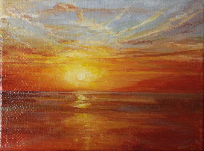 Ondergaande zon, acryl op linnen, 20 cm x 18 cm