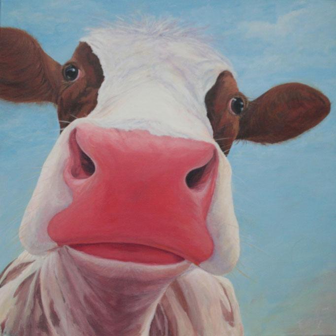 Liefde op 't eerste gezicht, acryl op linnen, 60 cm x 60 cm VERKOCHT