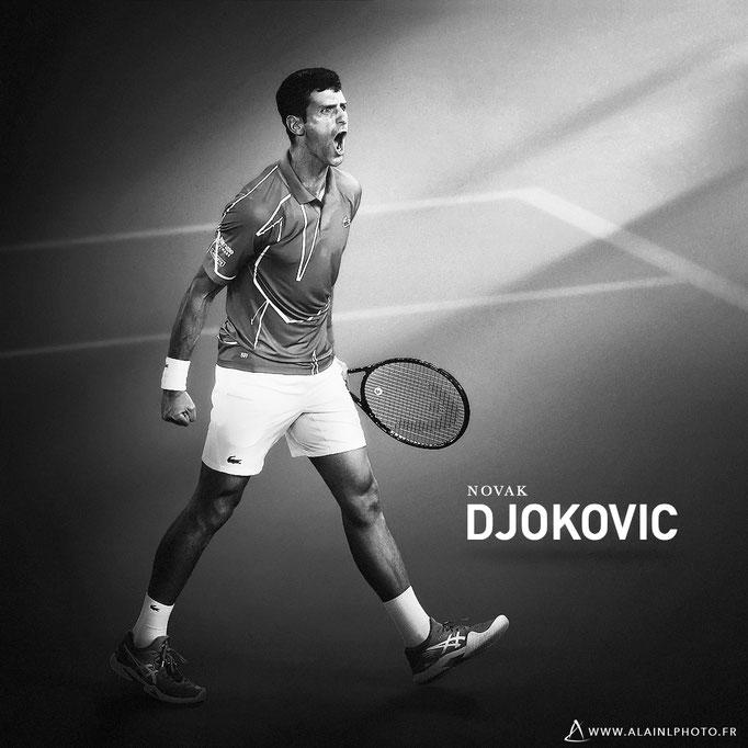 Novak Djokovic - Après retouche noir et blanc