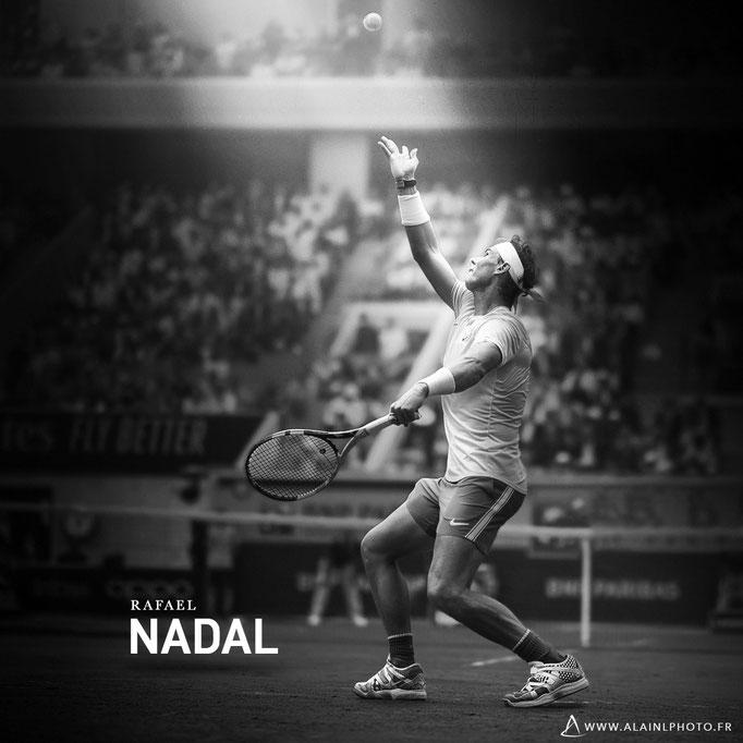 Rafael Nadal - Après retouche noir et blanc